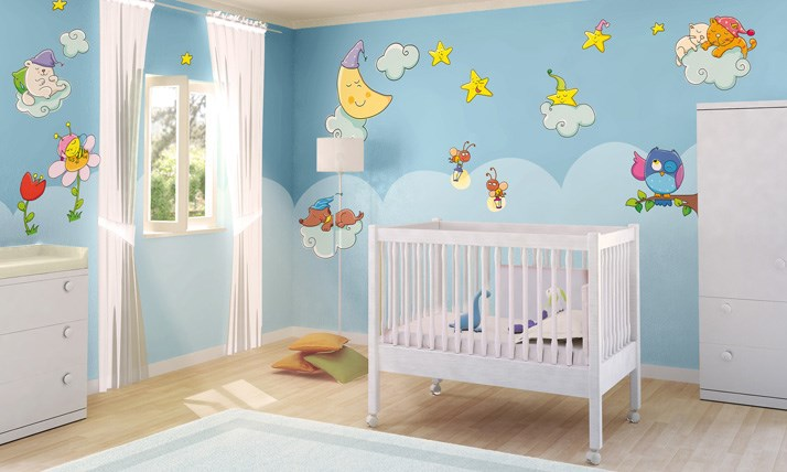 Stickers murali bambini cameretta sogni d 39 oro leostickers - Decorazioni murali camerette bambini ...